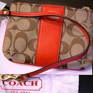 NWT MINI Coach Wristlet in brown and red/orange